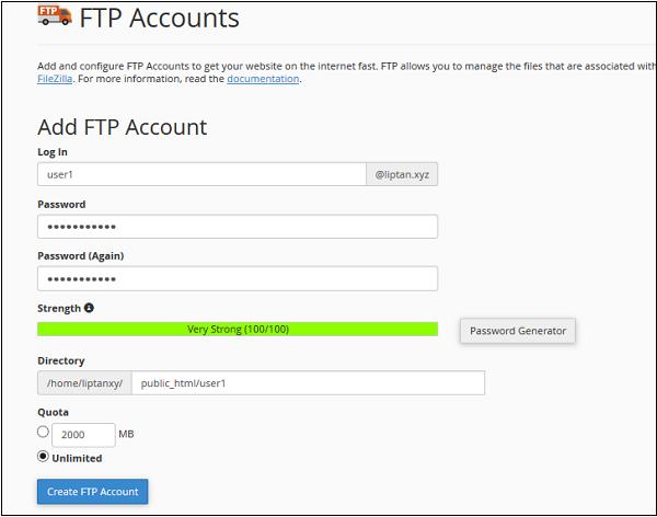 添加FTP帐户