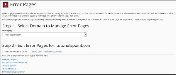 错误页面管理